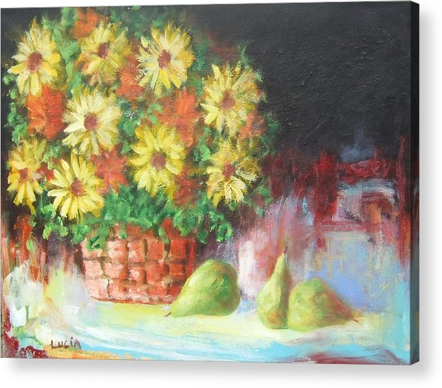 Cats. Flowers. Still Life Acrylic Print featuring the print Cat In The Window by Carl Lucia