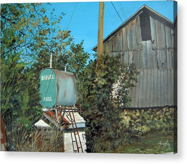 Barn Acrylic Print featuring the painting Diesel Fuel by William Brody