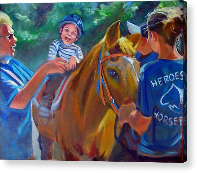Horse Acrylic Print featuring the painting Heroes On Horseback by Kaytee Esser
