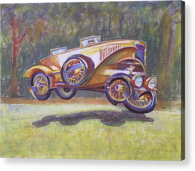 Antique Car Acrylic Print featuring the drawing Jumpin Auburn Car by Gary Peterson
