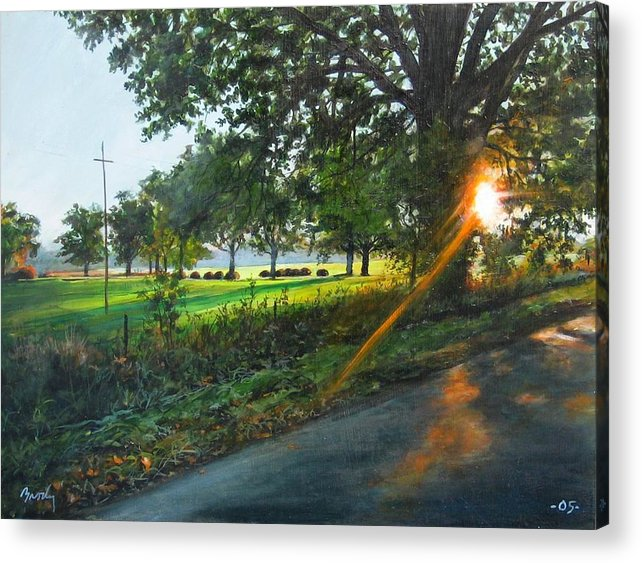 Landscape Acrylic Print featuring the painting Last Cut by William Brody