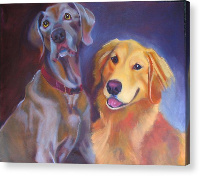 Dog Portrait Acrylic Print featuring the painting Maddy And Teddy by Kaytee Esser