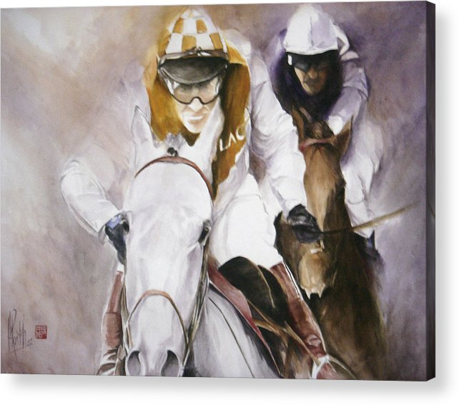 Race Horse Acrylic Print featuring the painting Rooster Booster by Alan Kirkland-Roath