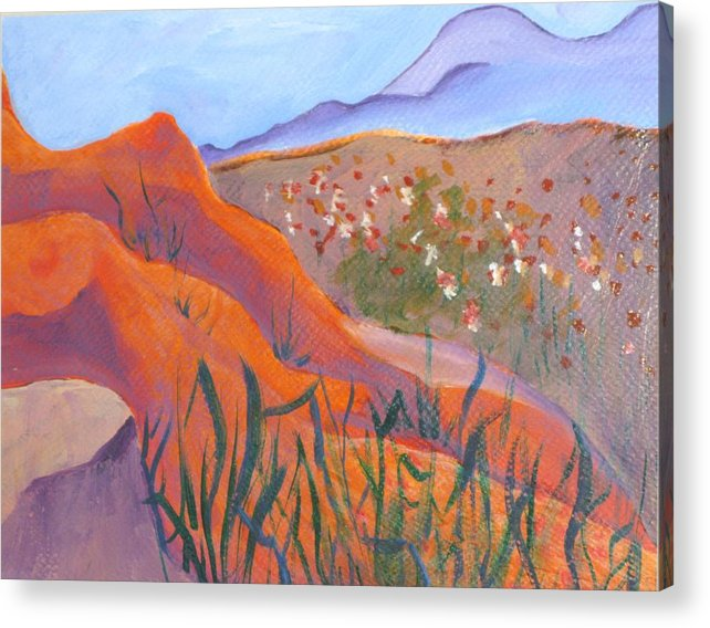 Landscape Acrylic Print featuring the painting Superstition Spring by Kathy Mitchell