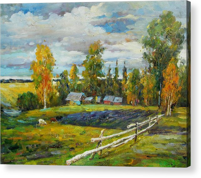 Landscape Acrylic Print featuring the painting The Old Farm by Imagine Art Works Studio