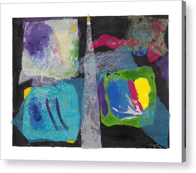 Expressionism Acrylic Print featuring the mixed media Night Light by Nancy Brockett