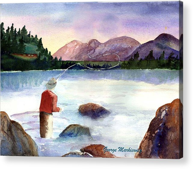 Fisherman At Lake Acrylic Print featuring the print Fisherman In The Morning by George Markiewicz