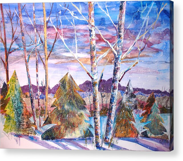 Landscape Acrylic Print featuring the mixed media Winter Day by Joyce Kanyuk