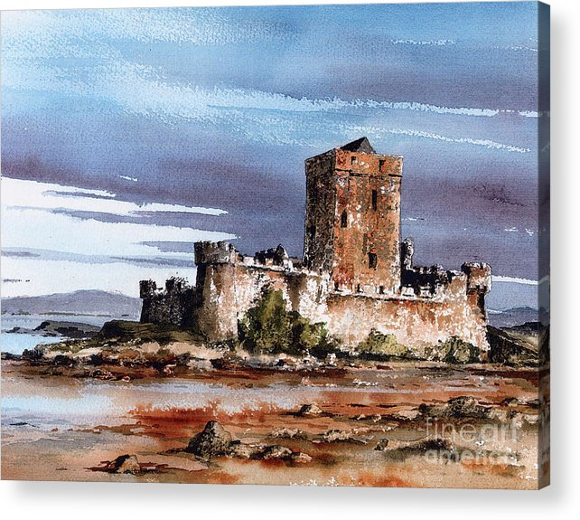 Val Byrne Acrylic Print featuring the painting Doe Castle In Donegal by Val Byrne