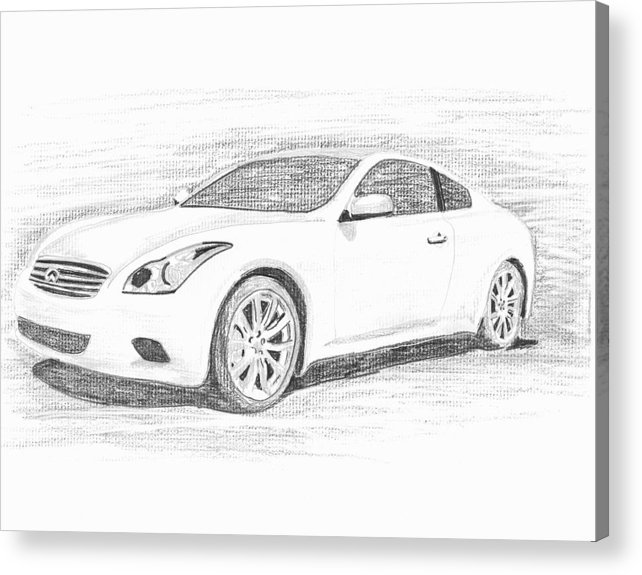 Pencil Drawings Acrylic Print featuring the drawing Infinity G37 Coupe by John Jones