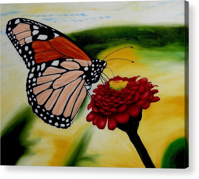Butterfly. Flowers. Garden. Realism. Acrylic Print featuring the painting Monarch by Ivan Rijhoff