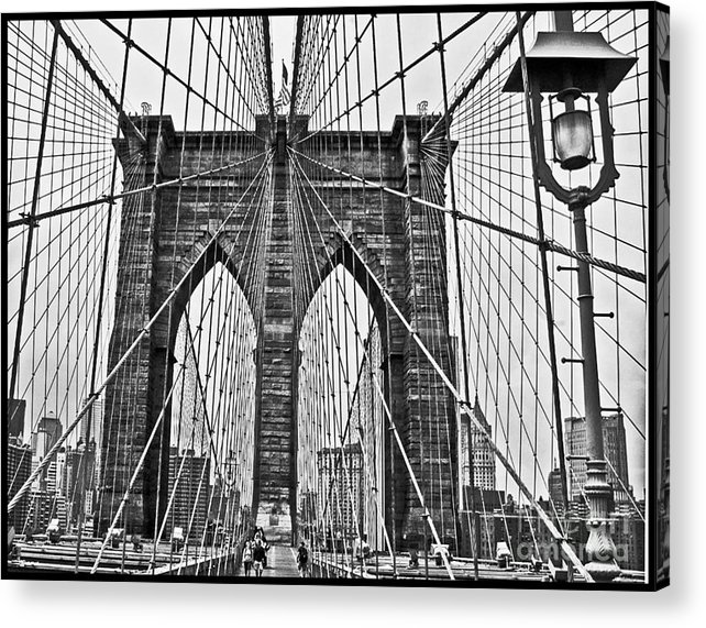Brooklyn Bridge Acrylic Print featuring the photograph Black And White Brooklyn Bridge by Allan Einhorn