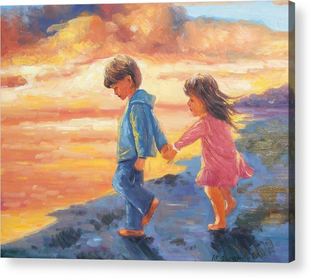 Children Water Sunset Acrylic Print featuring the painting Children At Sunset by Imagine Art Works Studio