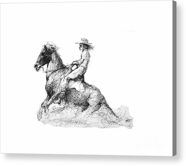 Working Cowgirl Acrylic Print featuring the drawing The Slide by Paul Miller