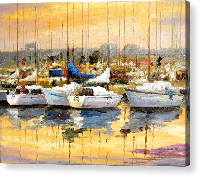 Seascape Acrylic Print featuring the painting Where Did I Park My Boat by Imagine Art Works Studio