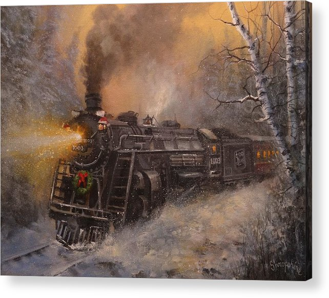 Trains Acrylic Print featuring the painting Christmas Train In Wisconsin by Tom Shropshire