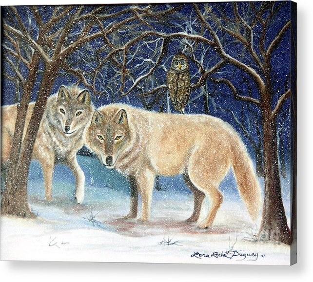 Wolves Acrylic Print featuring the painting Night Life In The Forest by Lora Duguay