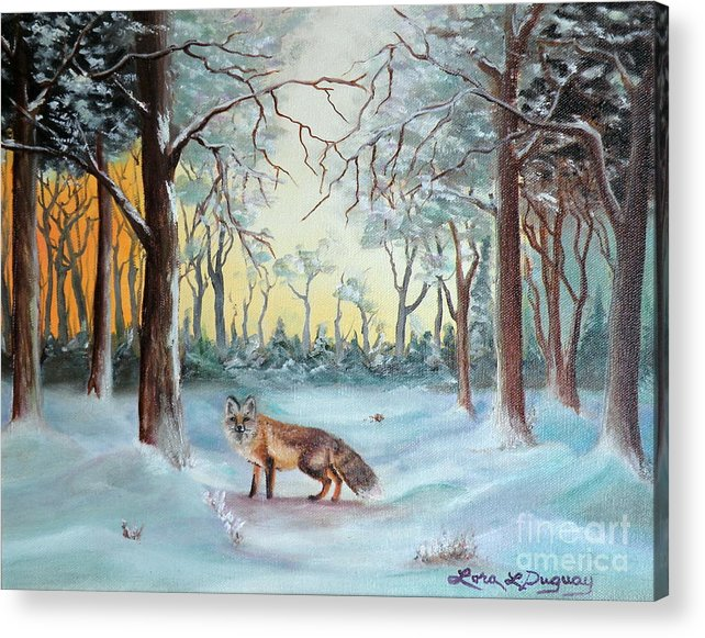 Fox Acrylic Print featuring the painting The Sneaky Red Fox by Lora Duguay