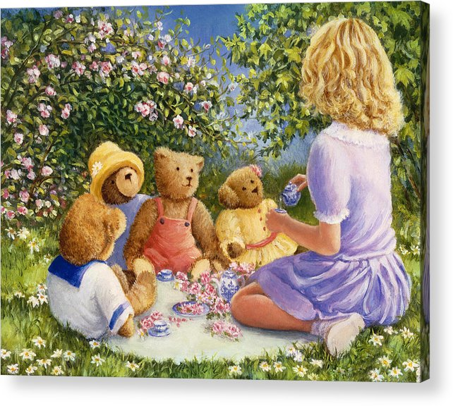 Teddy Bears Acrylic Print featuring the painting Afternoon Tea by Susan Rinehart