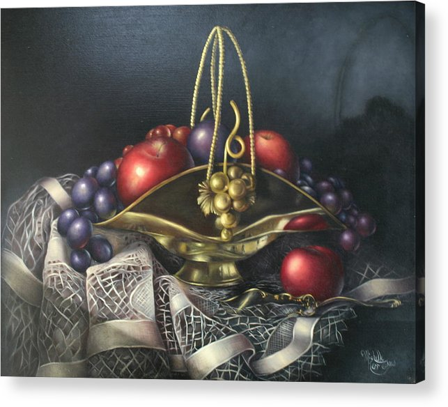 Still Life Acrylic Print featuring the painting Brass Basket by Michelle Kerr