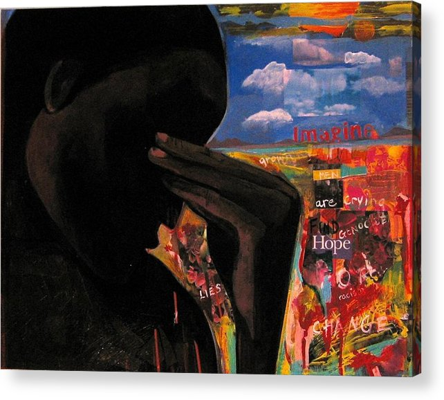 African American Acrylic Print featuring the painting Crying Man Change by Joyce Owens