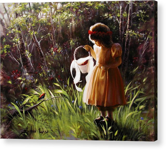 Acrylic Print featuring the painting Girl With Basket Of Roses by Stephen Lucas