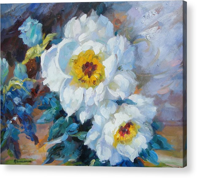Flower Close Up Acrylic Print featuring the painting Indoor Garden by Imagine Art Works Studio