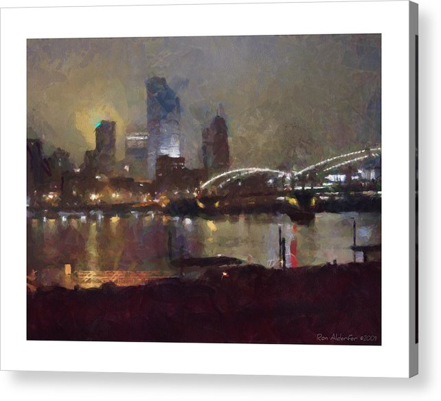 Digital Acrylic Print featuring the photograph Pittsburgh Night by Ron Alderfer