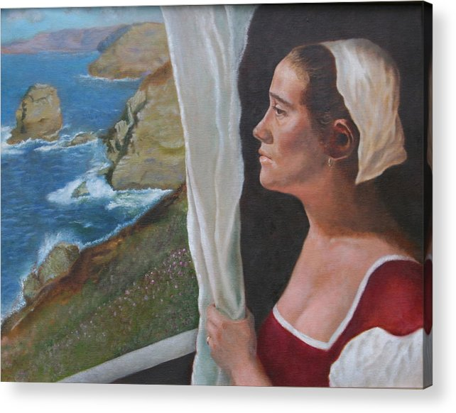 Portrait Acrylic Print featuring the painting The Captain's Wife by Rf Hauver