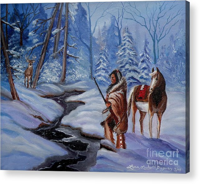 Winter Landscape Acrylic Print featuring the painting The Hunt by Lora Duguay