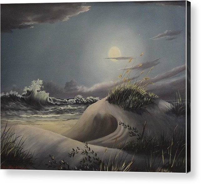 Landscape Acrylic Print featuring the painting Waves And Moonlight by Wanda Dansereau