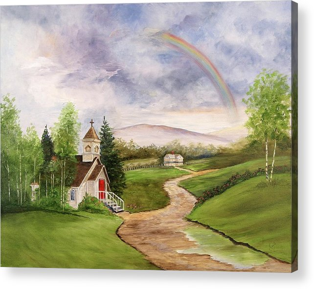 Rainbow Acrylic Print featuring the painting After The Storm by Marti Idlet