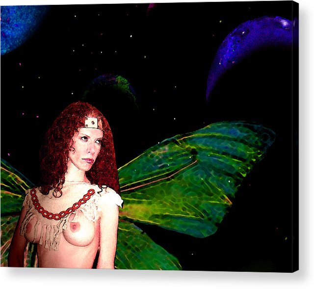 Fairy Acrylic Print featuring the painting Looking Away by Tray Mead