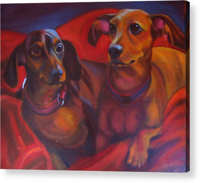 Dachshunds Acrylic Print featuring the painting Mini-docs by Kaytee Esser