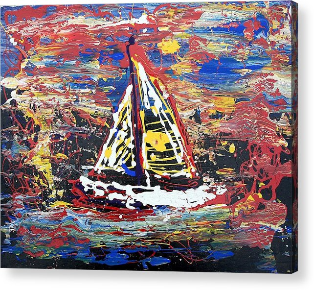 Sailboat Acrylic Print featuring the painting Sunset On The Lake by J R Seymour