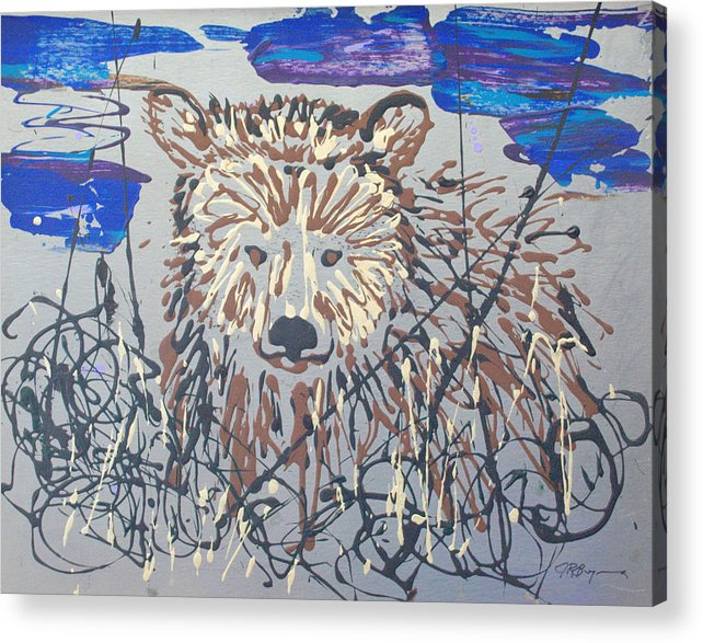 Bear In Bushes Acrylic Print featuring the painting The Kodiak by J R Seymour