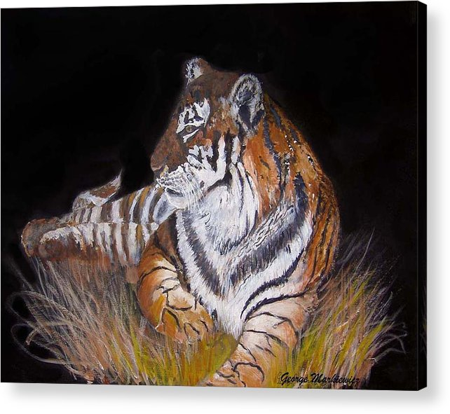 Tiger Acrylic Print featuring the print Tiger Tiger Burning Bright by George Markiewicz