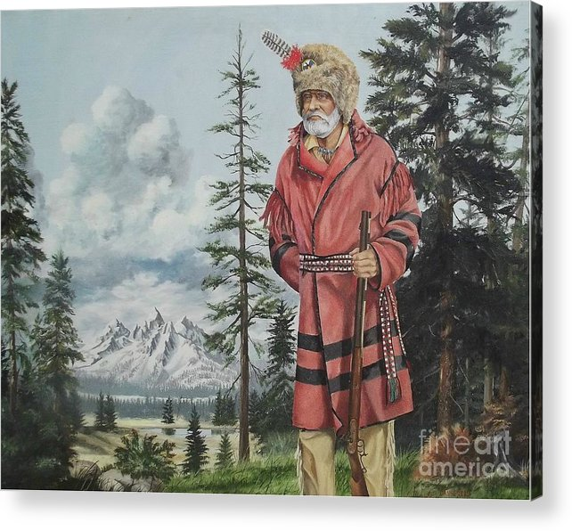 Landscape Acrylic Print featuring the painting Terry The Mountain Man by Wanda Dansereau