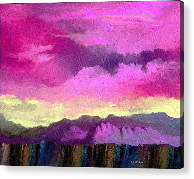 Mountains Western New Mexico Arizona Southwestern Sky Rocks Acrylic Print featuring the painting Morning At The Rim Of The Canyon by Donn Kay