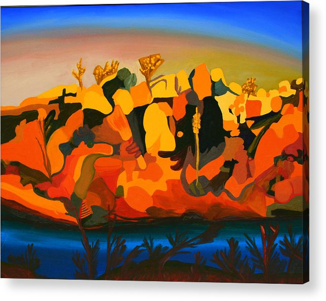 Abstract Acrylic Print featuring the painting Rustler's Roost by Michael C Crane
