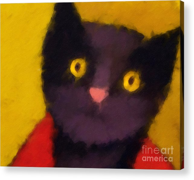 Cats Acrylic Print featuring the painting Blacky by Lutz Baar