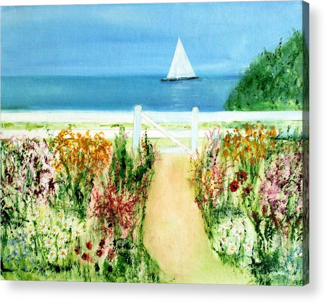 Landscape Acrylic Print featuring the painting Celia Thaxter by Michela Akers