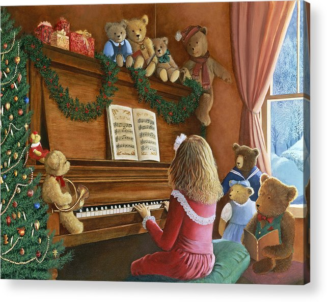 Teddy Bears Acrylic Print featuring the painting Christmas Concert by Susan Rinehart
