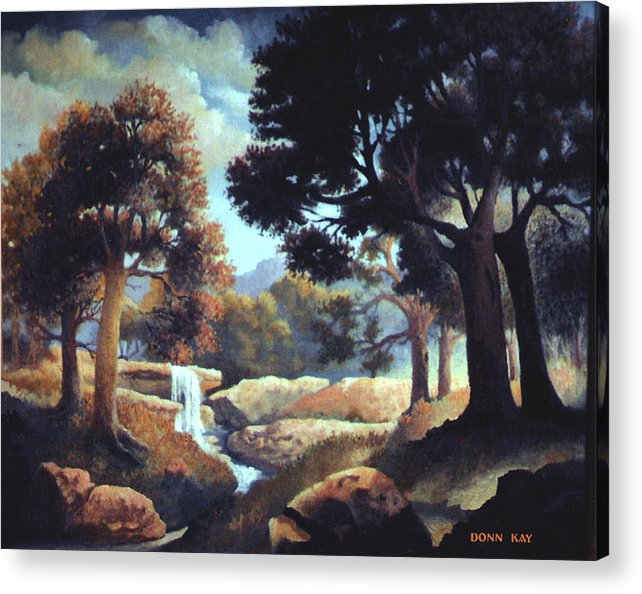 Waterfalls Mountains Southwest Texas Landscape Painting Acrylic Print featuring the painting Early Morning At Hidden Rock by Donn Kay