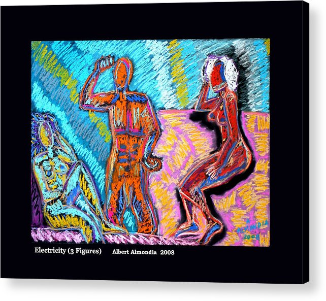 Figurative Acrylic Print featuring the painting Electricity - 3 Figures by Albert Almondia