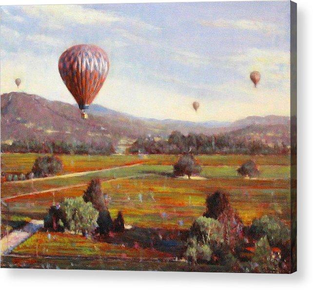 Wine Contry Acrylic Print featuring the painting Napa Balloon Autumn Ride by Takayuki Harada