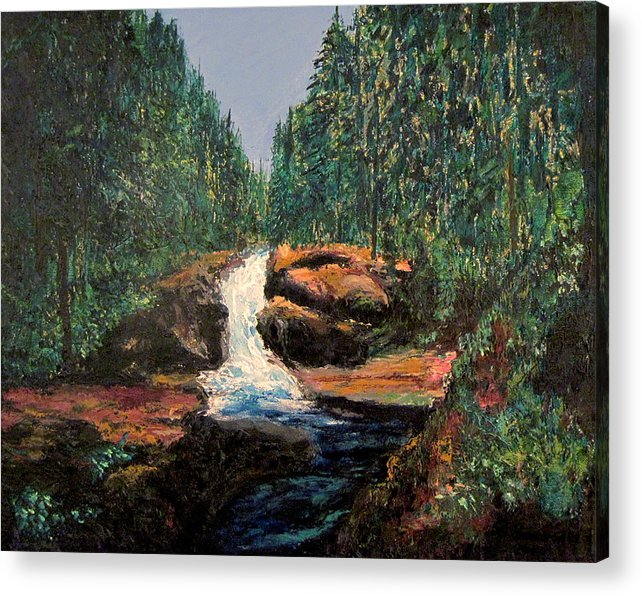Olympic Park Waterfall Acrylic Print featuring the painting Olympic Park Waterfall by Richard Beauregard