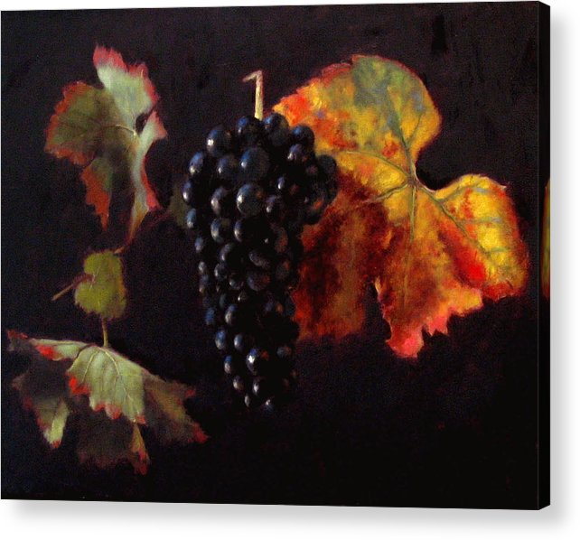 Wine Still Life Acrylic Print featuring the painting Pinot Noir Grape With Autumn Leaves by Takayuki Harada