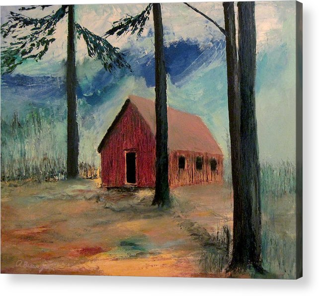 Pioneer School House Acrylic Print featuring the painting Pioneer School House by Richard Beauregard