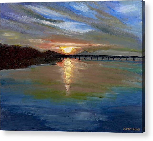 Sunset Acrylic Print featuring the painting Sunset From The Big Dam Bridge by Cathy France